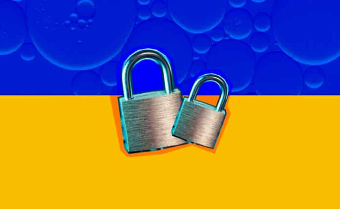 Locks on a split-colored background