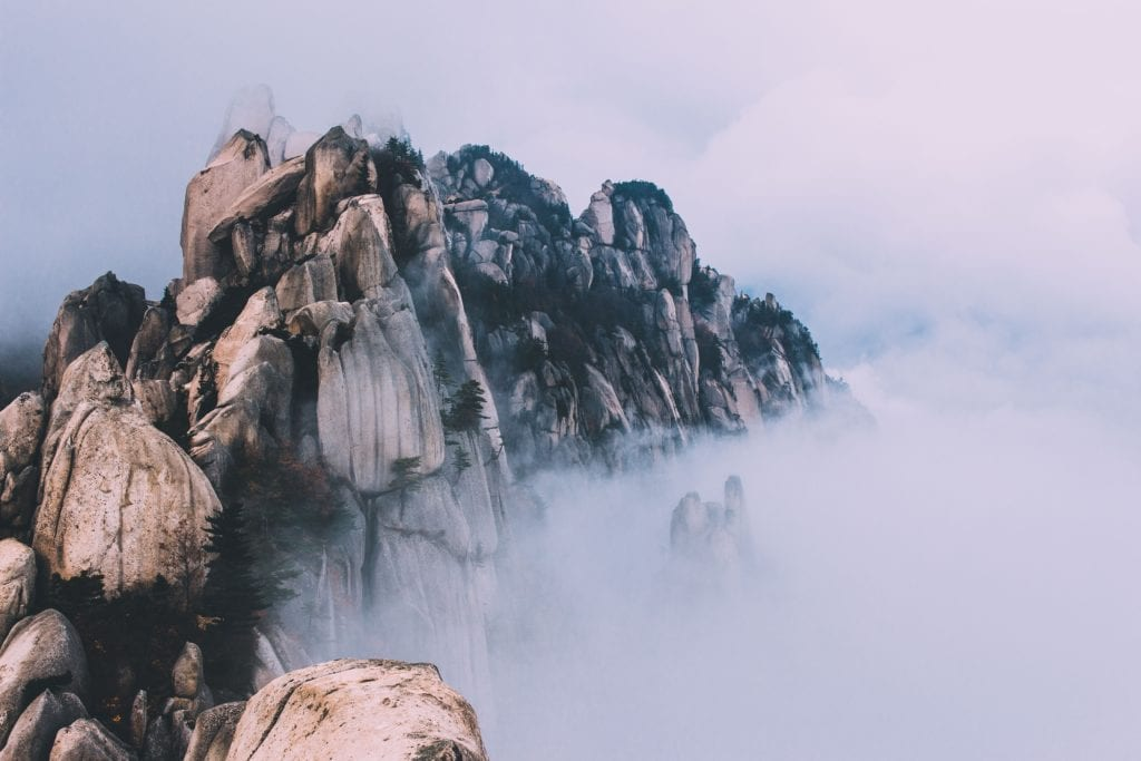 Fog and clouds in the mountains.
