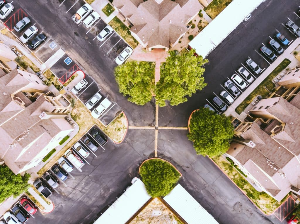 A city traffic intersection seen from above.