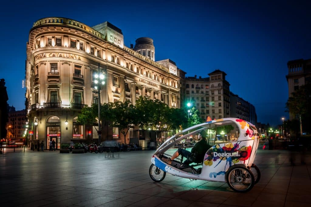 A pedi cab at night in Barcelona