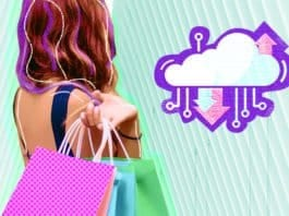 Image of a woman shopping under an illustration of The Cloud