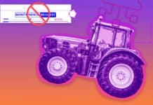 "Image of a tractor connected to the Cloud for maintenance schedules, removing the need for maintenance requests, which is pictured with an ""X"" over it"