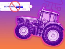 """Image of a tractor connected to the Cloud for maintenance schedules, removing the need for maintenance requests, which is pictured with an """"X"""" over it"""