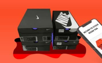 Image of a stack of Nike boxes and a point of service smart device telling a worker that the boxes need to go to a specific stock room
