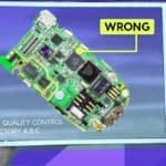 Image of a circuit board being checked via Augmented Reality software on a tablet for quality control