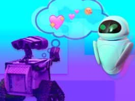 Image of AI Robots, Wall-e and EVE, having emotions