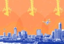 Image of the Austin skyline with connectivity towers sending signals out as well as a mesh network providing connectivity