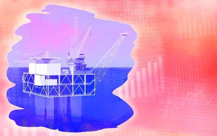 Image of an oil rig set on a background of data tables and graphs