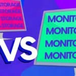 "One monitor that says ""Data Storage"" and one monitor that says ""Monitoring"""