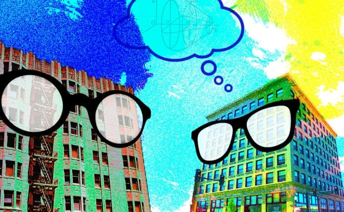 Image of two buildings wearing glasses thinking about a complicated math problem, a play on