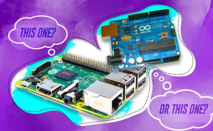 Image of a Raspberry Pi and an Arduino board