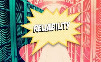 "Image of a data center with a comic book sound effect bubble that says ""Reliability"""