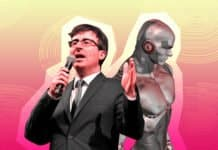 Image of John Oliver, host of Last Week Tonight, and a robot