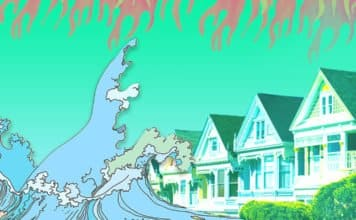Image of the Painted Ladies homes in San Francisco under an illustration of a giant wave