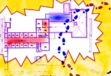 Image of a hospital floor plan with a heat map based on foot traffic levels
