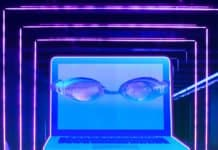 Computer wearing goggles