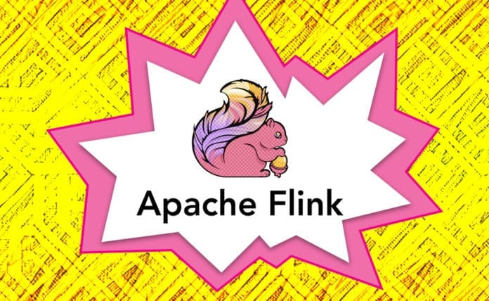 Image of the Apache Flink logo in front of a starburst illustration