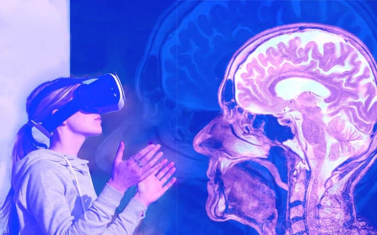 A woman with an AR headset looking at an MRI scan
