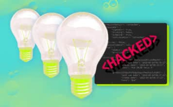 Image of three lightbulbs with a code block behind them that says """"
