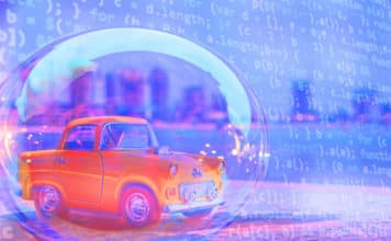 A toy car in a bubble shielded from hackers