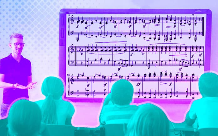 A classroom using a smartboard to learn music