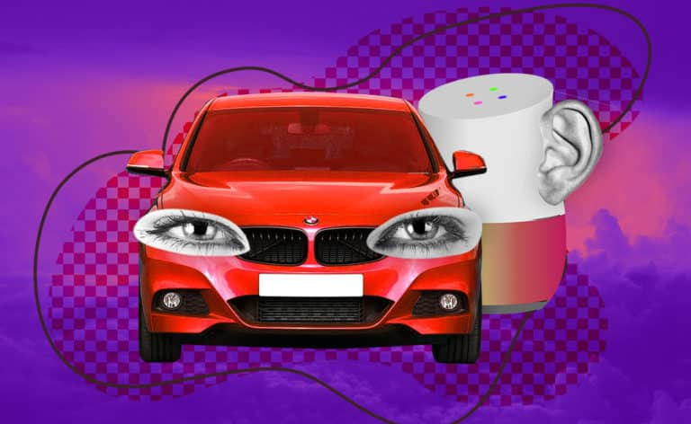 Image of a BMW with eyes and a Google Home with an ear