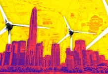 Image of a skyline and wind turbines on top of an urban map