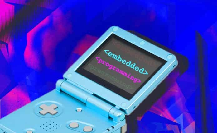 Image of a Nintendo Gameboy with the words