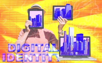 "A person holding digital tablets with the text ""Digital Identity"" in the background"