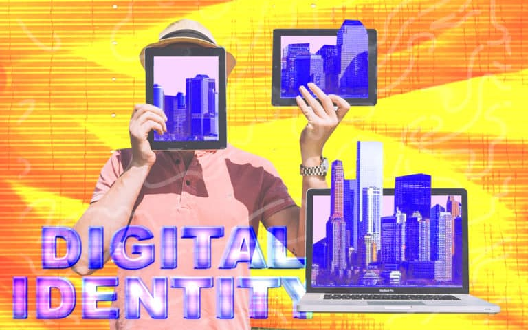 """A person holding digital tablets with the text """"Digital Identity"""" in the background"""