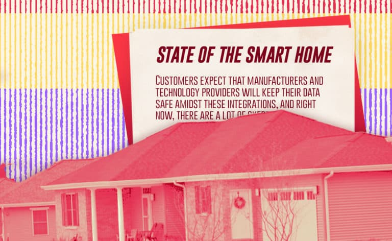 """Image of a house with a declaration in the back that says """"State of the Smart Home"""""""