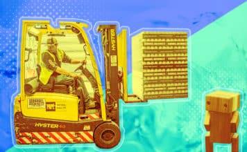 A warehouse machine and a robot