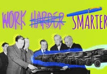 "Image of people talking with the words ""WORK HARDER"" behind them - ""Harder"" is crossed out and ""SMARTER"" is written next to it"