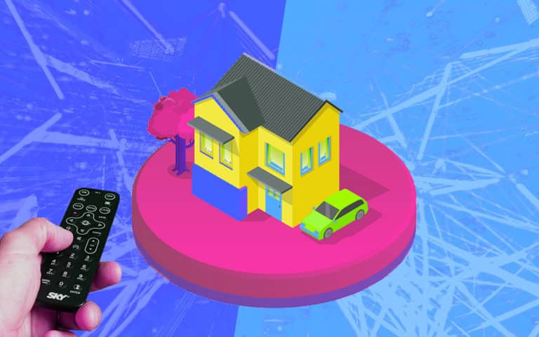 A tv remote control and an illustration of a house