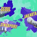 Image of Singapore, Jakarta, and Seoul