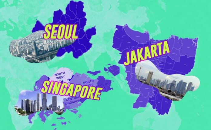 Image of Singapore, Jakarta, and Seoul