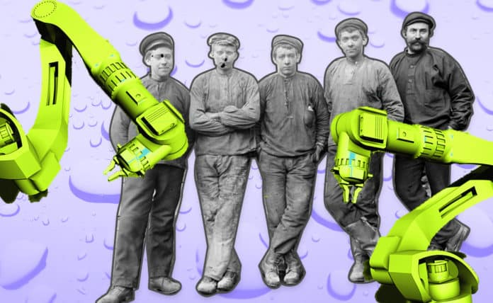 Image of workers from the Industrial Revolution behind giant robotic arms