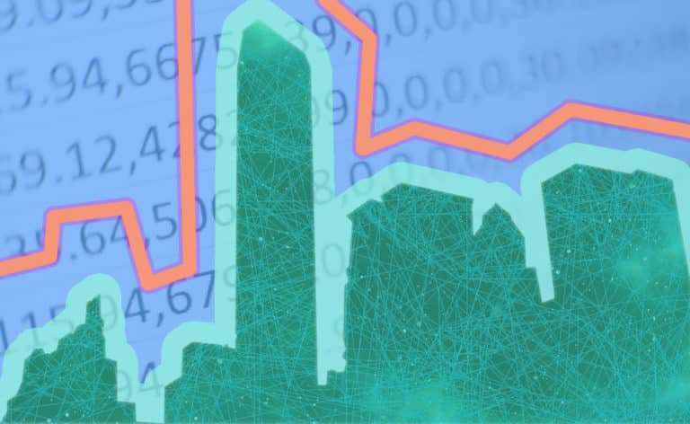 City outline with numbers in backdrop