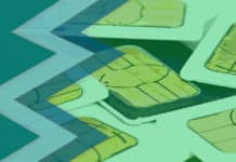 A pile of SIM cards with a green overlay