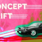 """The words """"Concept Drift"""" with the image of a drift car"""