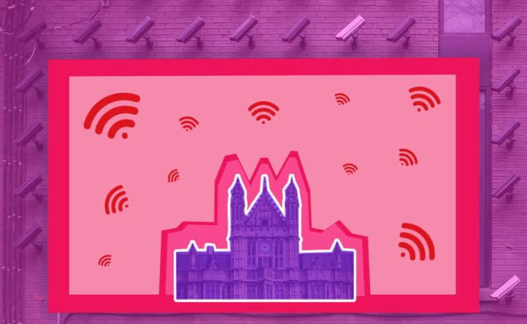 A castle with wifi signals surrounding it and surveillance cameras