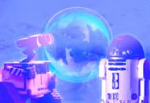 Two robots and a bubble