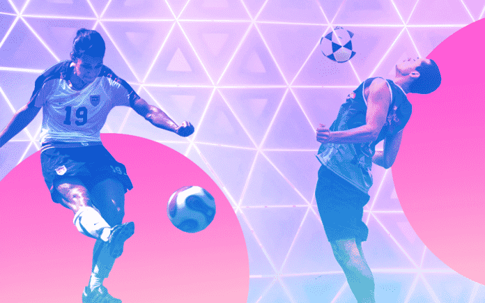 Two people kicking a soccer ball