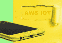 """An iphone and the text """"AWS IOT"""""""