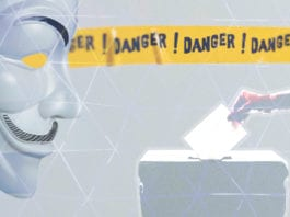 A ballot box, a warning sign, and a hacker mask
