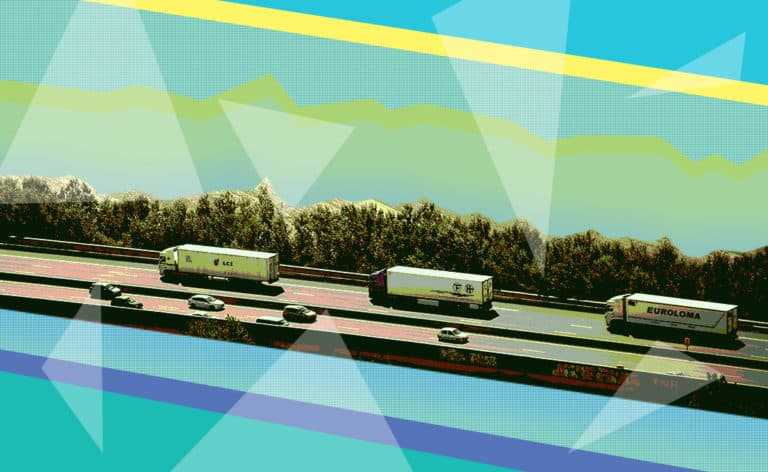 Trucks in line on highway