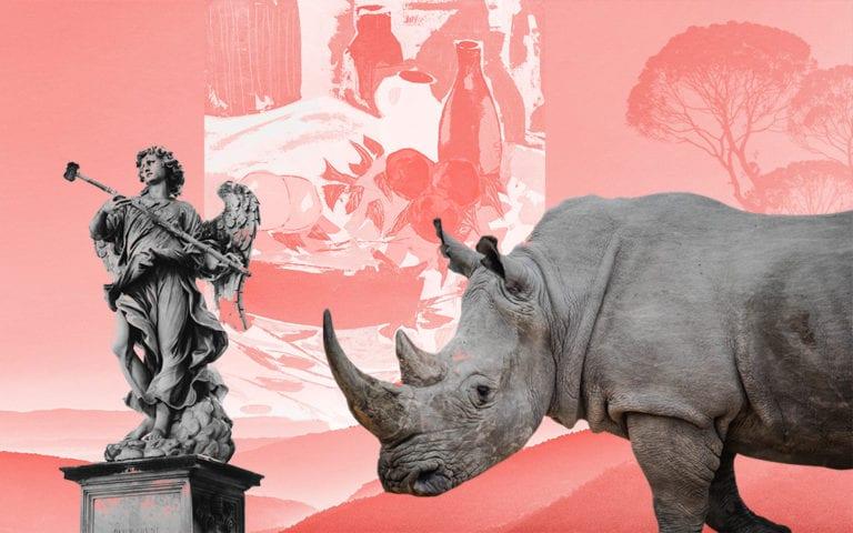 A rhino and a an art statue