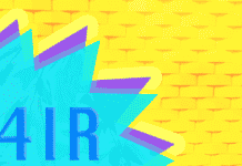"The text ""4IR"" on a colorful background"