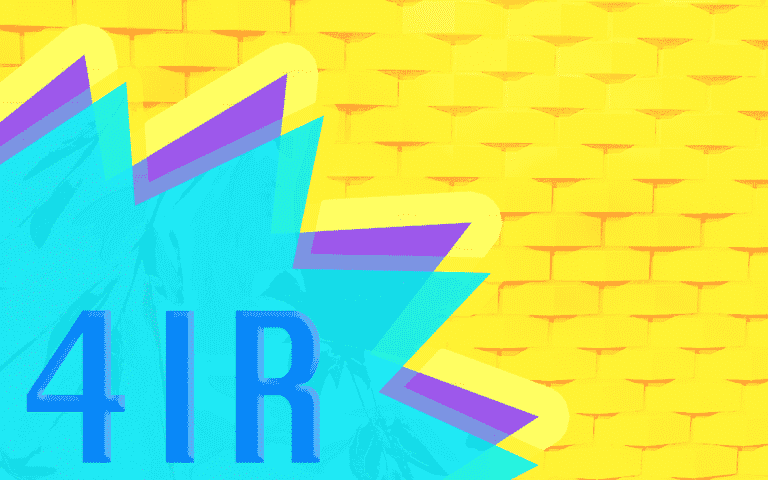 """The text """"4IR"""" on a colorful background"""