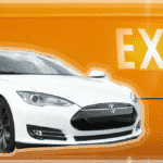 "A Tesla car on an orange background with the word ""EXIT"""